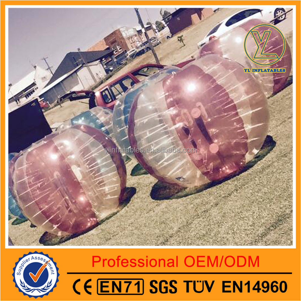 Giant inflatable soccer bouncy ball mid-color pink bubble bumper ball
