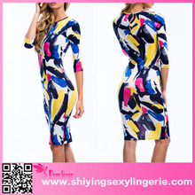 Sexy Wholesale Colorful Graffiti Print Sleeved Evening Gowns For Teenagers