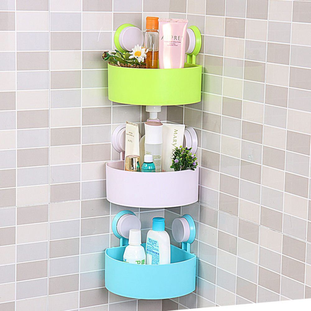 Lovely Bathroom Corner Storage Rack Organizer Shower Wall Shelf with Suction Cup