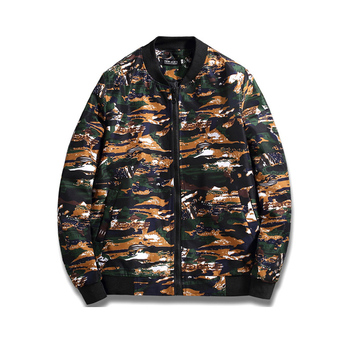 Hot sale mans wear all over printed camo bomber jacket custom green and red camo bomber jacket for spring