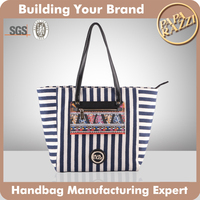 3509- Good Quality Navy Stripe Fabric Shopper Canvas Lady handbags Bags 2016