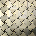 Royllent peel and stick backsplash brushed silver aluminum metal Mosaic with decorative diamond glass wall Tile