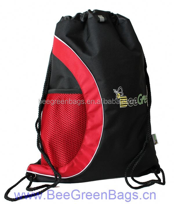 Polyester Net mesh cloth side pocket fashion cheap plain backpack bag
