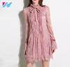 Yihao wholesale New latest design dress women lady's fashion high neck sweet casual mini lace dress