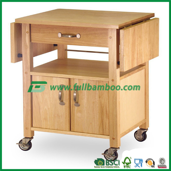 Bamboo Kitchen Trolley with Shelves & drawer storage and expandable table