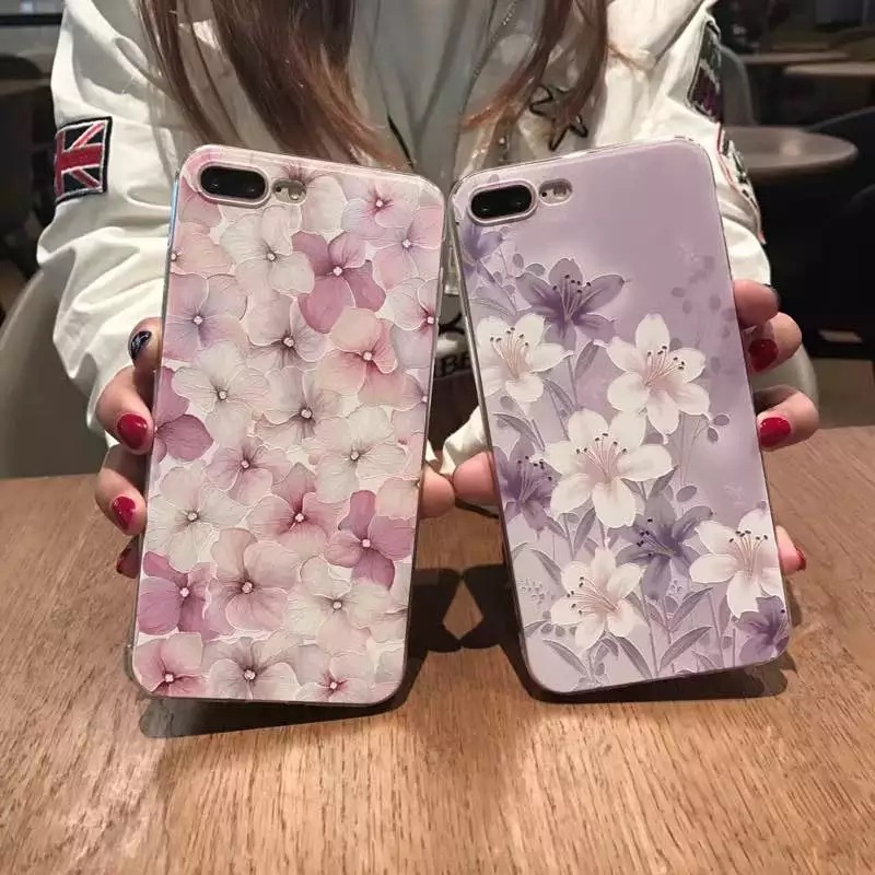 Purple pink flowers embossed TPU case for iphone 7,3D Art Couple and goodfriends's gift TPU case for iphone 7
