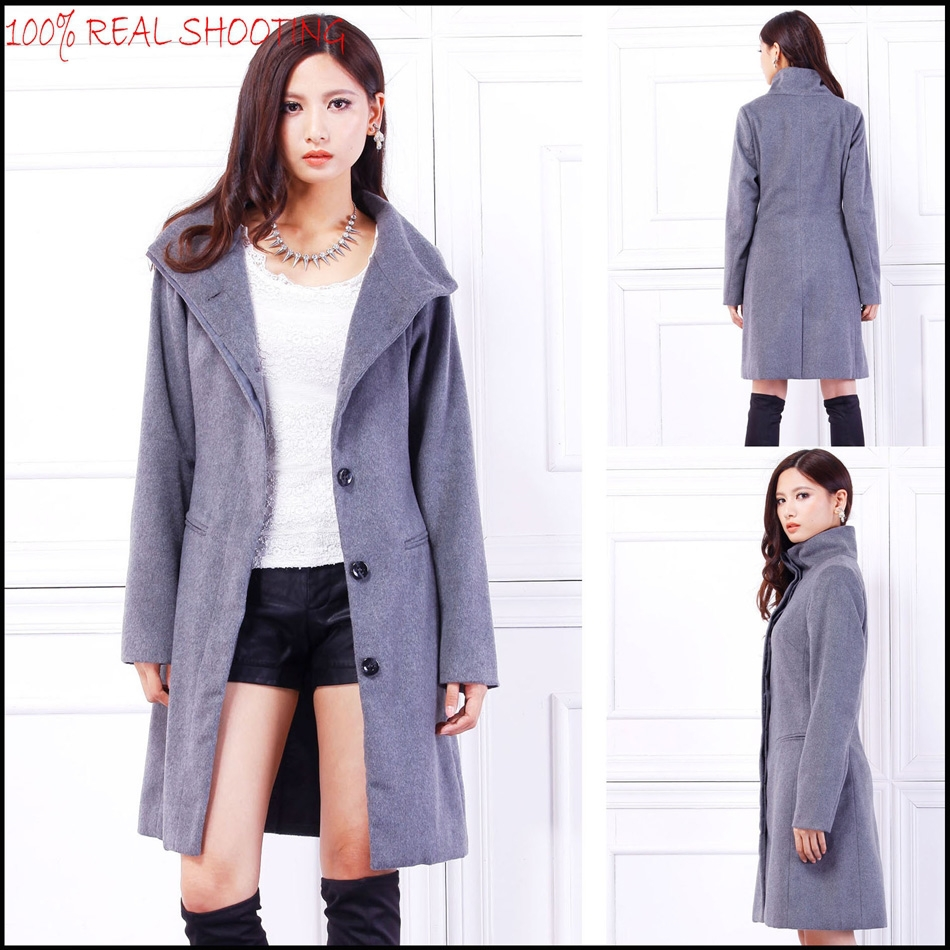 2015 the newest women's funnel neck coat with long sleeve plus size free sample