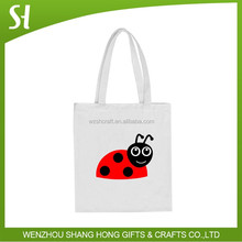 cute white recycle shopping bag wholesale/custom printed tote bag paypal