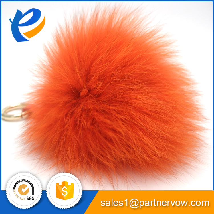 2017 New white fox tail keychain with high quality