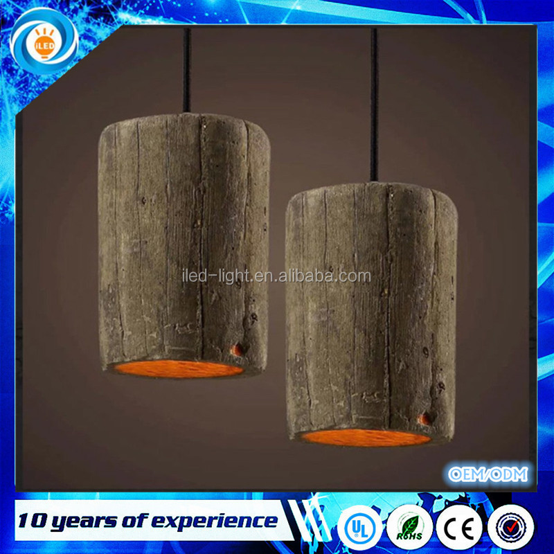 Fixture Restaurant Cafes Pub Club Hanging Lamp American Country Pendant Lights Vintage Wood Imitated Cement Droplight