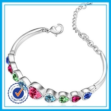 Real silver plated colored crystal bracelet silicone