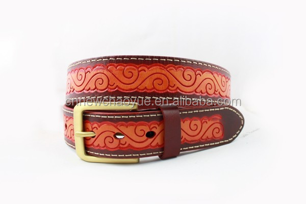 Panther texture embossed Floral leather belt