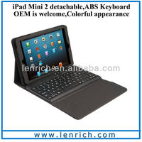 LBK120 Black Protective Lined Leather Case for iPad Mini 2 Built-in detachable Bluetooth Keyboard