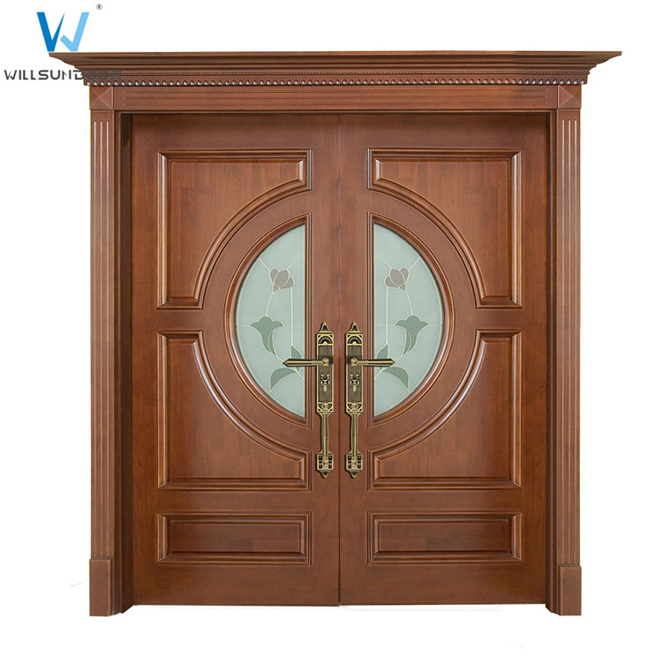 Modern house exterior door double tempered glass pure wood for Order front door