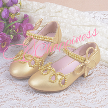 Lovely Gold hollow pearl princess girl birthday wear shoes PU shoes for wedding party dance shoes