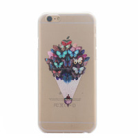 Elegant Design TPU case for iPhone 6 Plus Clear and Beautiful Flowers
