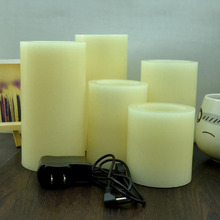 Rechargeable Flickering Flame less LED WAX Hollow Candles for Decoration
