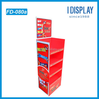 2017 CMYK Printed Floor POP Corrugated Display Stands / Cardboard Display Shelf