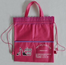 green color non woven drawstring shopping bags with handles