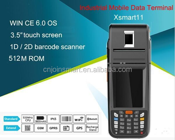 customized pos system pda phone , industrial pda with barcode scanner and thermal printer and fingerprint