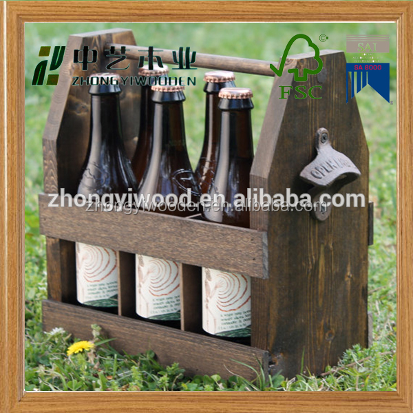 2016 year china factory FSC OEM pine 6 pack wooden beer wine storage box tote carrier with can bottle opener