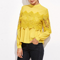 Yellow Embroidered Lace Applique Designer Blouse Back Neck Designs