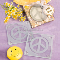 Peace logo frosted square glass coaster for promotional souvenir gift