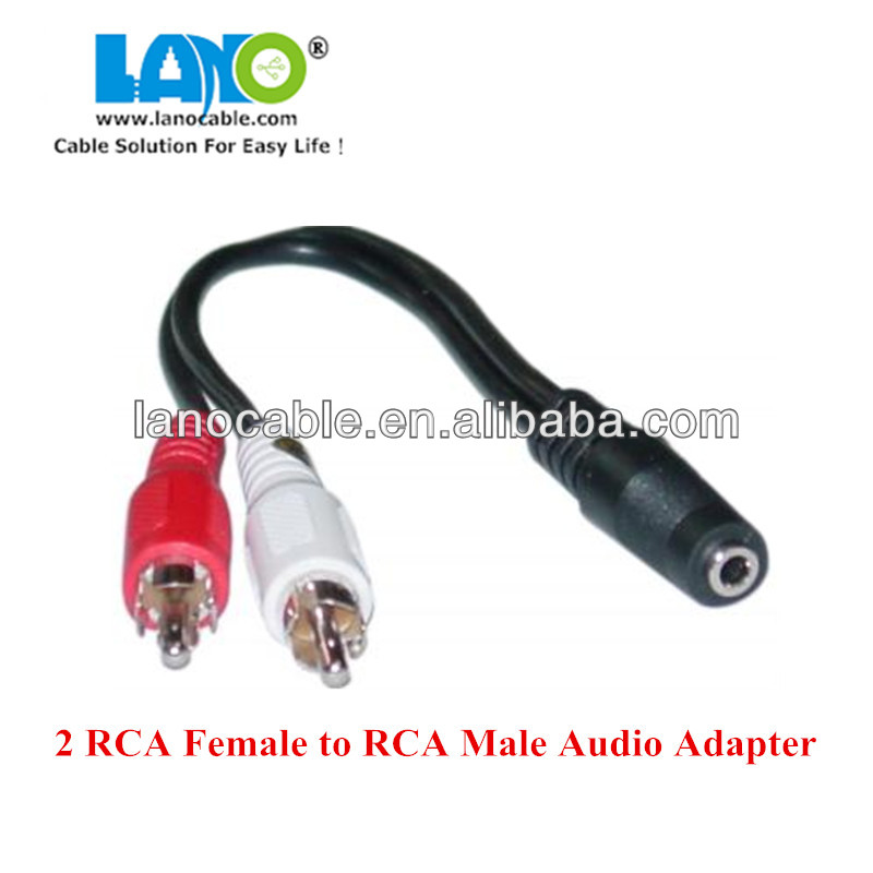 new design 3.5mm female stereo jack to male 2 x rca plugs cable
