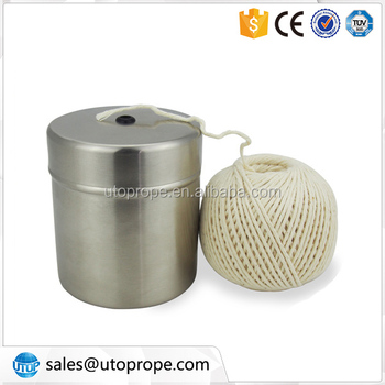 220-feet of food safe 18ply cotton cooking twine with Stainless Steel Holder