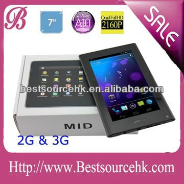 "7"" Newest Tablet PC 3G Sim Card Slot 5 point Touch Screen WIFI Android OS with Phone Function dual camera"