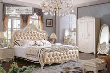 white wedding romantic solid wood king size bedroom furniture set for adult