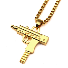 Mens Hip Hop 18k Gold High Polished Supreme Gun Pendant Necklace