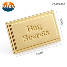 Manufacturer Custom Gold Metal Plate Logo For Handbags