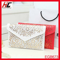 New Fashion hot selling hollow women envelope oversized cutch evening bag with strip