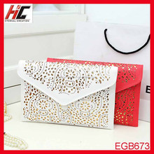 New <strong>Fashion</strong> hot selling hollow women envelope oversized cutch evening bag with strip