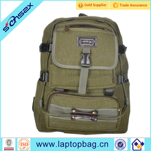 2017 new unisex army green canvas backpack for middle school students