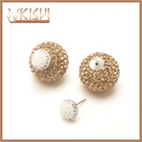 925 silver jewelry earring CZ and Shell Pearl 16mm
