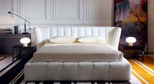 New Simple princess italian designs wihte leather beds furniture