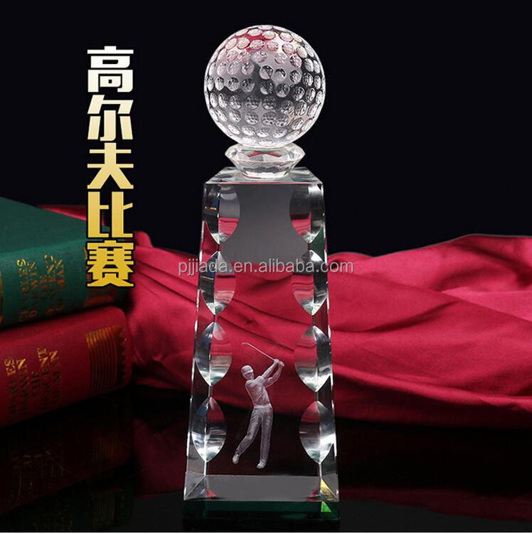 26cm high cheap fan souvenir gift trophy model on campus golf tournament crystal trophy