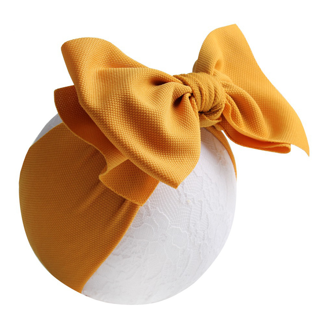 RTS Spring Color Nylon Corn big bow baby headband <strong>Hair</strong> <strong>accessory</strong> for infant girls