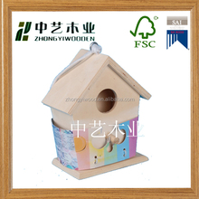 FSC new unfinished handmade decorative wooden bird house/cheap wooden nest