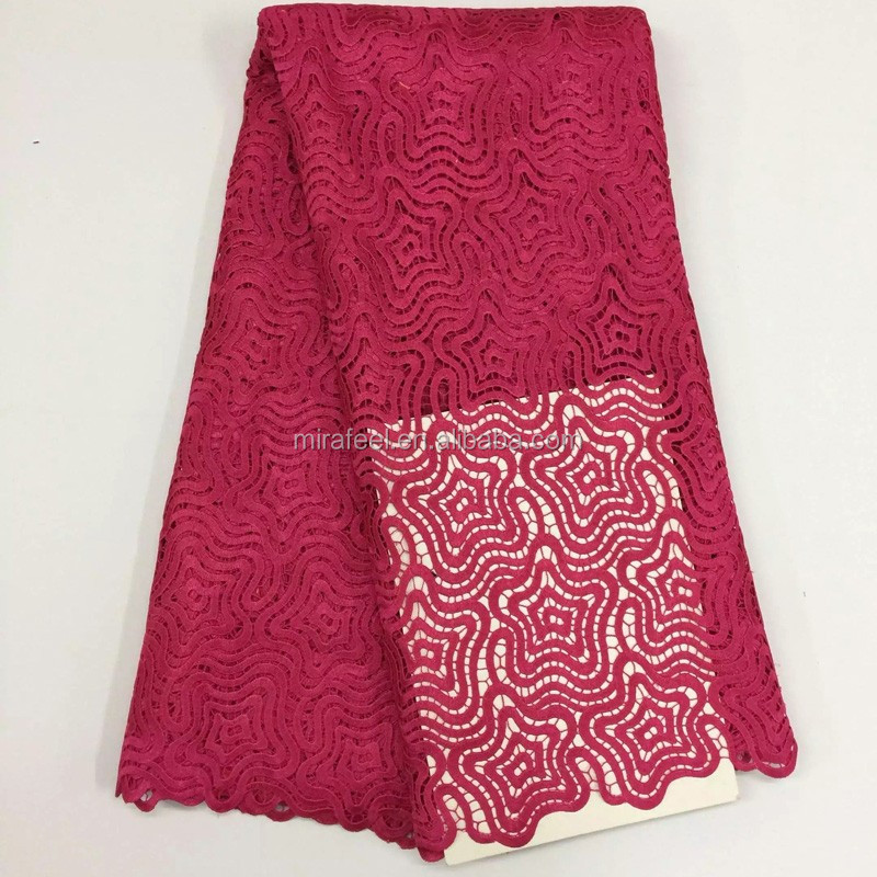 Guangzhou cheapest lace fabric LC264-3 rose pink design african guipure cord lace