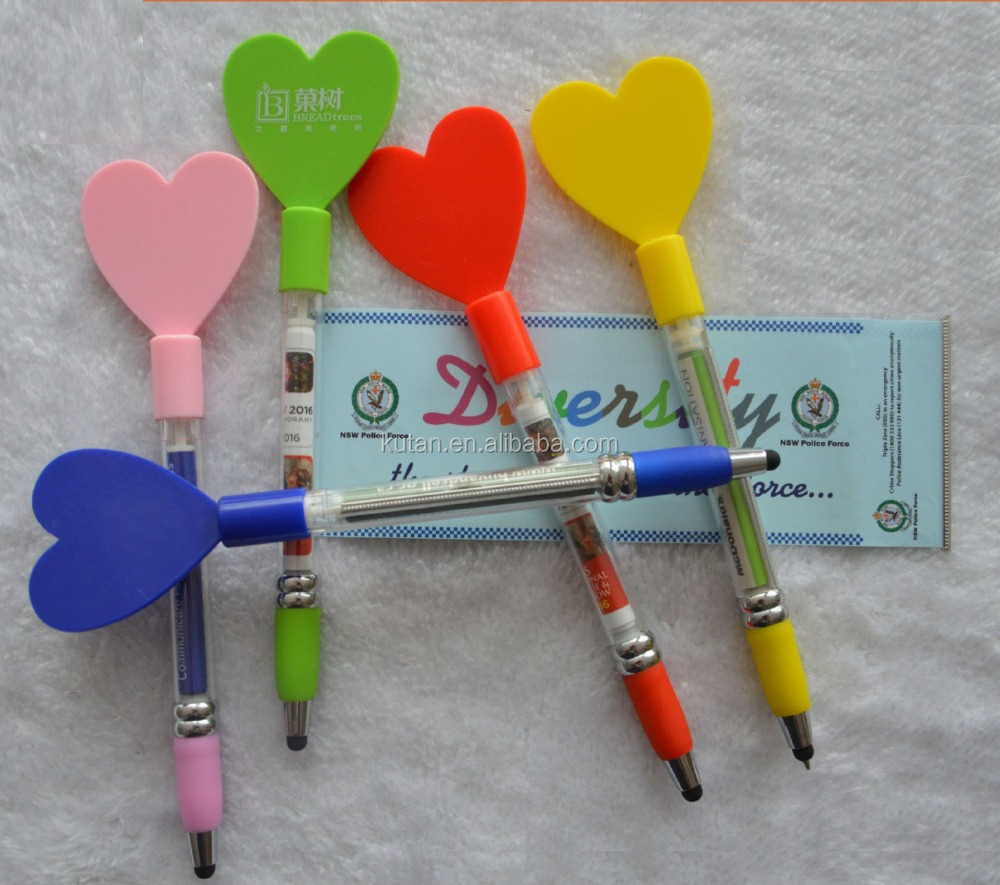 2 In 1 Pull out Heart Shape Banner stylus ball Pen