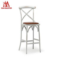 High Quality Wooden Seat High Bar Stool With Aluminum Leg