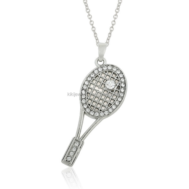 Sport Eco-friendly Rhodium Plated Crystal Rhinestone Tennis Racket Pendant Necklace Jewelry