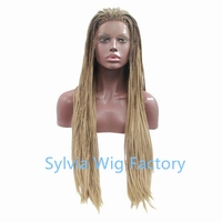 Wholesale ombre honey blonde brown dark root wig Synthetic micro box braid Lace Front Wig For African American Black Woman