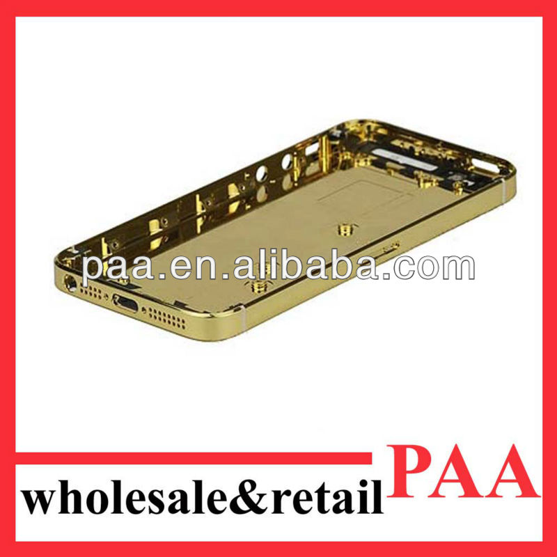for iphone 5 gold back cover/housing/plate 24k gold