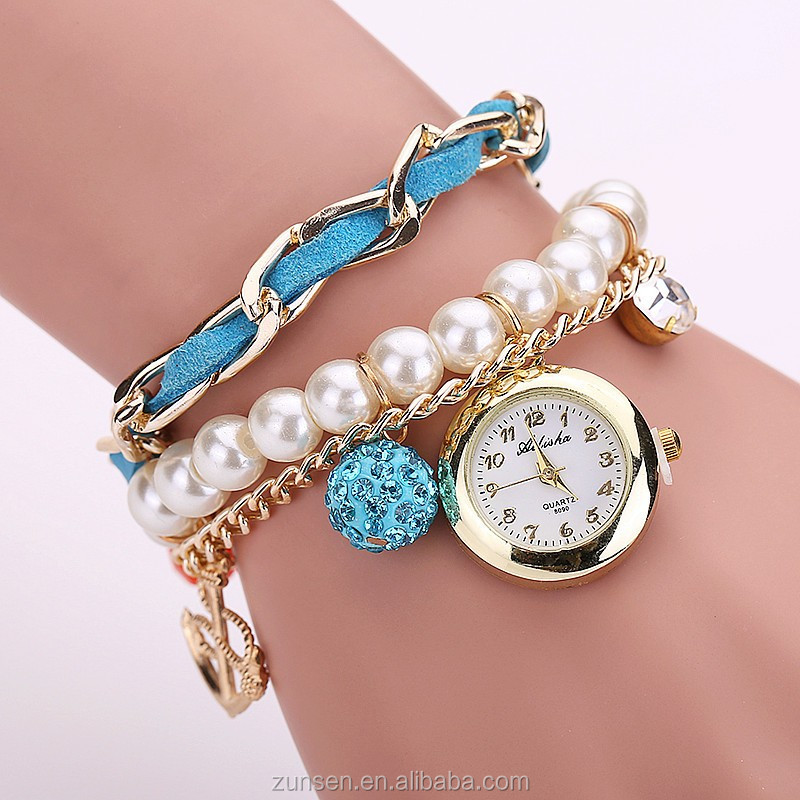 Wholesale 2016 Hot Fashion Casual Pearl Anchor Bracelet Watches Fashion Ladies Girls Women's Watch Round Analog Quartz Watch