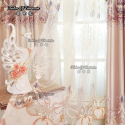 fancy design living room curtains with embroidery jacquard sheer fabric