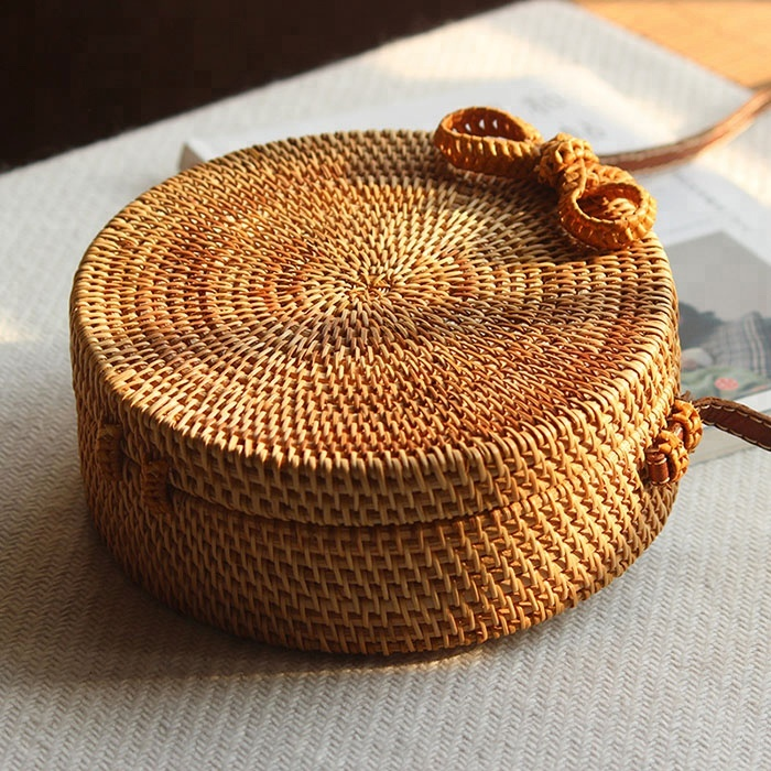 High quality rattan round bag with genuine leather handles, Rattan basket bags handmade in Bail, Bail bags.jpg